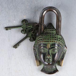 Chinese Ancient Decorative Bronze Kwan - Yin Lock & Key Ep0012 photo