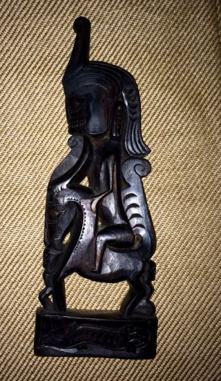 Authentic Singa By The Batak Sumatra Indonesia Wood Hand - Carved Figure Man/beast photo