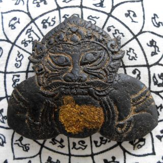 Giant Phra Rahu Om Chan (moon Eater) Powerful Thai Amulet Talisman Life Success photo