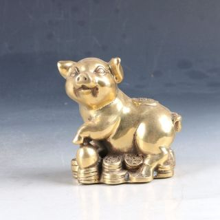 Chinese Brass Hand - Carved Pig Statue W Qing Dynasty Mark Ep0241 photo