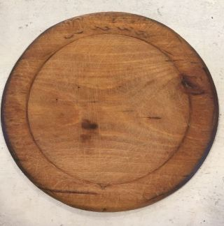Worn Antique Primitive Early Wooden Wood Round Cutting Bread Plate Cutting Board photo