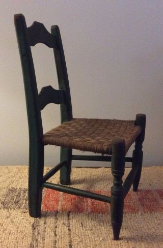 Antique American Country Folk Art Doll Chair - Early Painted Surface - Pristine photo