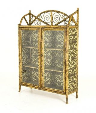 B564 Antique Scottish Victorian Bamboo Two Door Bookcase,  Cabinet,  Etagere photo