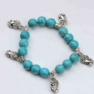 100 Natural Turquoise & Tibet Silver Handwork Chinese Zodiac Bracelet - - Tiger photo