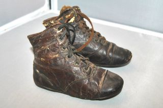 Antique 1800 ' S Victorian Brown Leather Lace Up High Boots Baby 2 Shoes photo