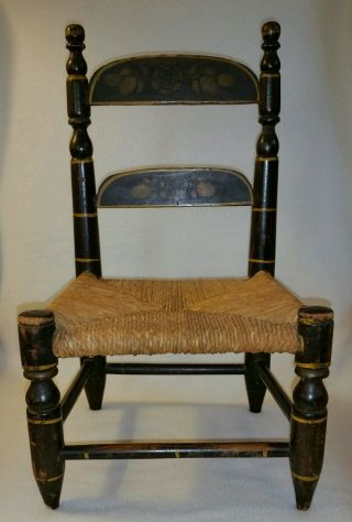 19th Century Hitchcock Type Paint & Stenciled Toy Chair W/ Rush Seat photo