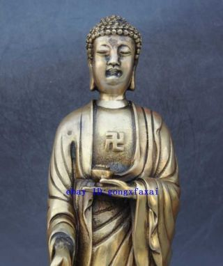 China Old Buddhism Temple Brass Copper Sakyamuni Tathagata Rulai Buddha Statue photo