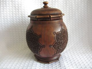 Antique Indian Kashmir Wooden Carved Tea Caddy photo