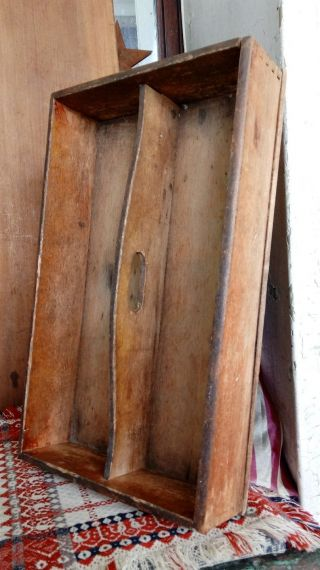 Early Antique Primitive Wood Knife Tray Cutlery Candle Box Aafa Dove Tail Joint photo