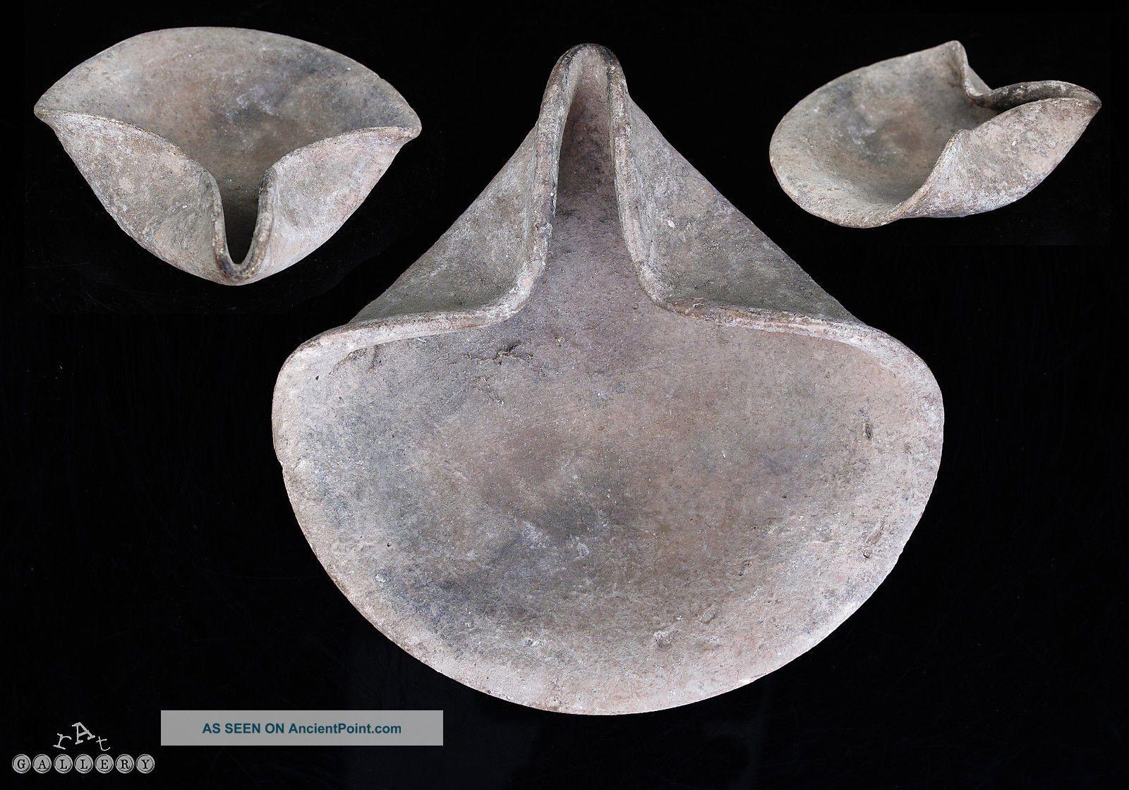 Israelite / Judaean Iron Age Terracotta Pottery Oil Lamp C.  1200 - 930 B.  C. Near Eastern photo