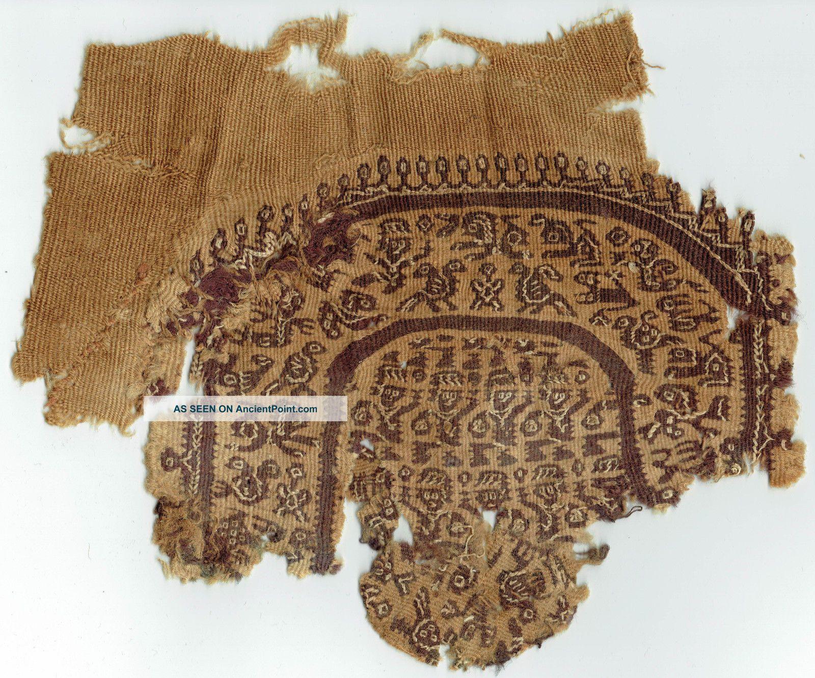 Coptic Tunic Applique 1st Millennium A.  D.  Zoomorphic Motifs Egyptian photo