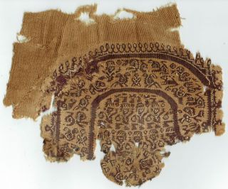 Coptic Tunic Applique 1st Millennium A.  D.  Zoomorphic Motifs photo