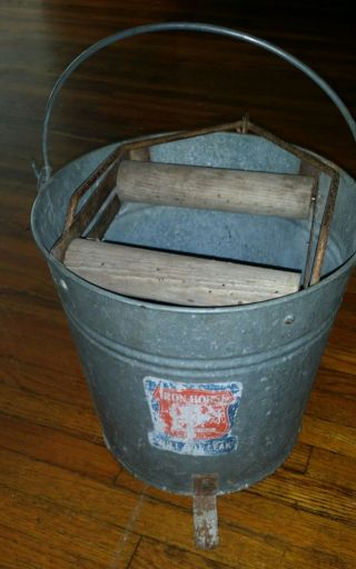 Vintage Galvanized ' Iron Horse Can/bucket Rochester Can Co.  Wood Mop Pale Garden photo