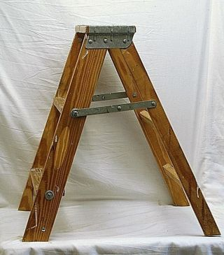 Old Vintage Primitive Wooden 2 Step Folding Stool Ladder Shabby Country Farm Dcr photo