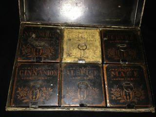 1800s Antique Western Toleware 6 Spice Sterling Cooking Spices Storage Box Tin photo