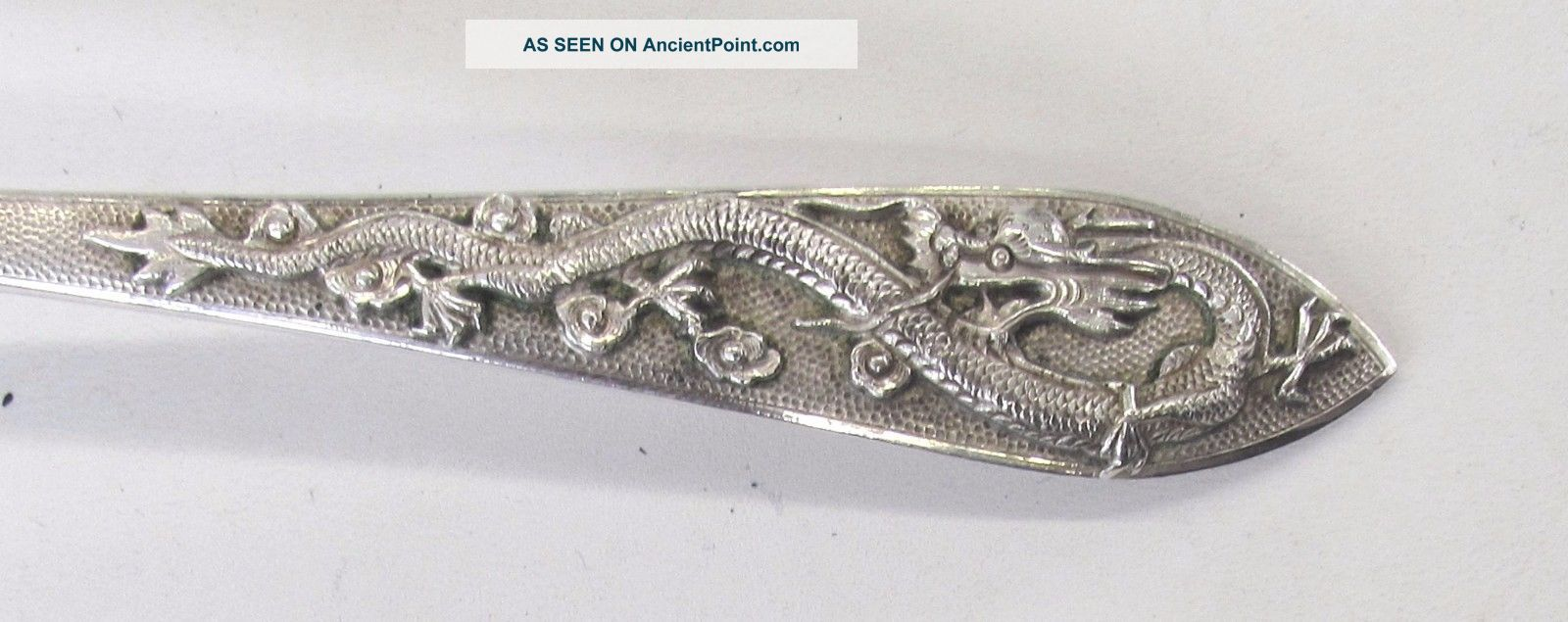 Rare Chinese Antique 1938 Export Silver Teh Ling Flatware With Applied Dragons Flatware & Silverware photo