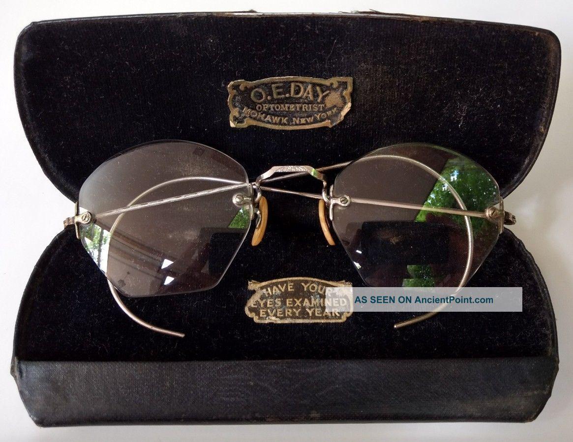 Antique Optical Octagon Eyeglasses 1/10 12k Gf Rimless O.  E.  Day Mohawk Ny W Case Optical photo