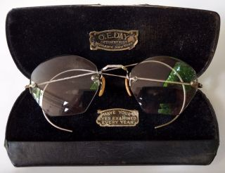 Antique Optical Octagon Eyeglasses 1/10 12k Gf Rimless O.  E.  Day Mohawk Ny W Case photo