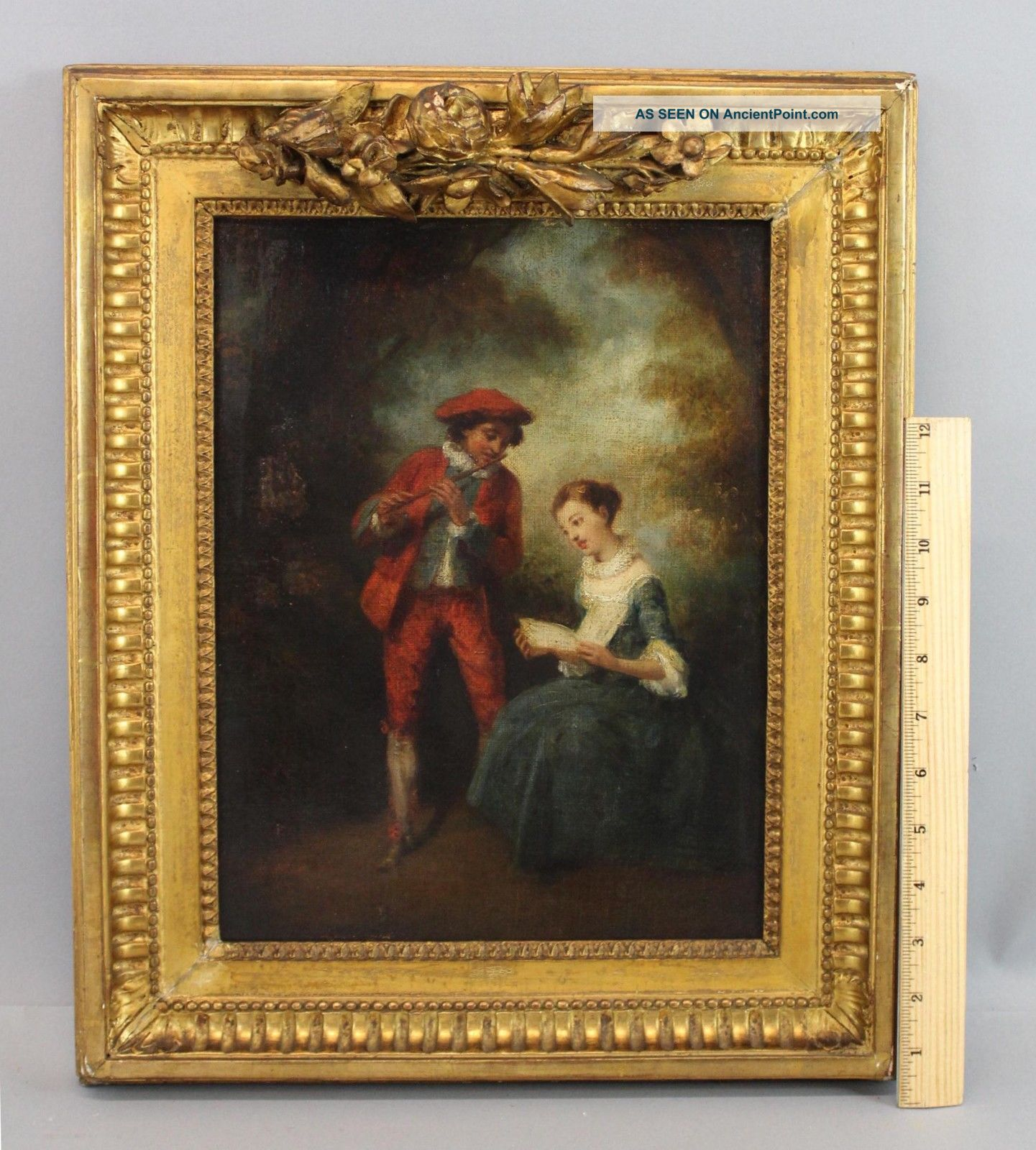 Antique 18thc O/c Oil Painting Flute Player & Singing Woman,  Gold Gilt Frame Nr Wind photo