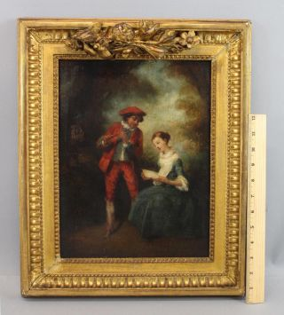 Antique 18thc O/c Oil Painting Flute Player & Singing Woman,  Gold Gilt Frame Nr photo