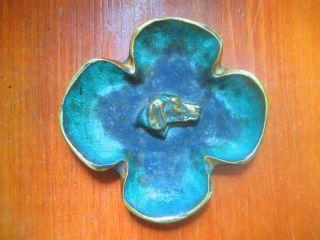 Hunting Dog ' S Head Bronze ? / Brass Antique Adirondack Decor Vintage Pin Tray photo
