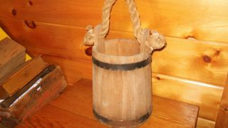 Vintage Primitive Wooden Bucket photo