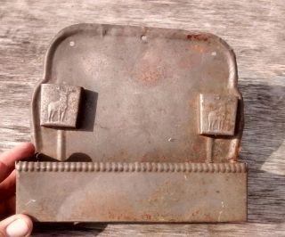 Antique Tin Primitive Embossed Elk Deer Dbl.  Match Safe Wall Mount Architectural photo