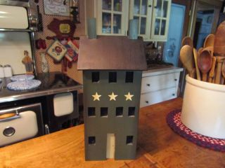 Primitive Wooden Tall Lighted House W/screens In Windows,  Double Chimneys &more photo