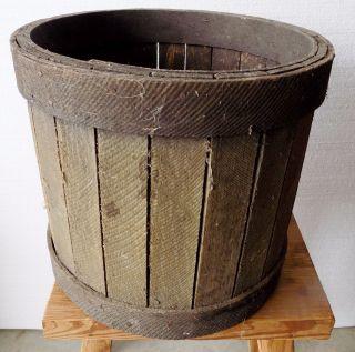 Primitive Antique Wooden Slat Farm Bucket Dry Goods Firkin photo