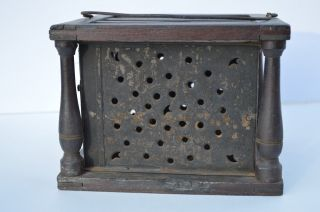 Antique Primitive Pierced Tin & Wood Foot Warmer For Bed/ Carriage photo