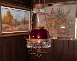Antique Cranbery Hanging Oil Or Electric Lamp With Bradely & Hubard Puley photo