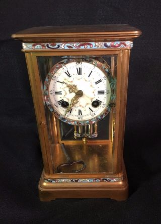 French Crystal Regulator Mantle Clock With Dbl.  Barrel Pendulum,  C.  1900 photo