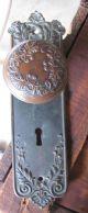 Antique Brass Floral Door Backplates And One Door Knob Matching Door Knobs & Handles photo 3