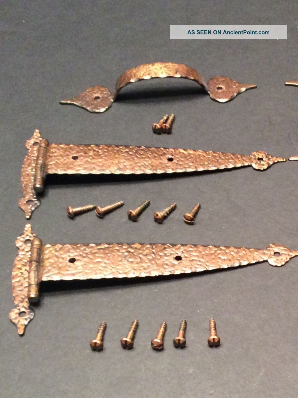 Vintage T - Strap Hinges Hammered Antique Copper Tudor 3/8 ...