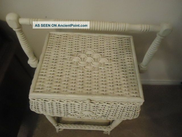 Antique Wicker Sewing Stand Basket Painted White.  I Believe Heywood - Wakefield Baskets & Boxes photo