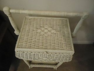 Antique Wicker Sewing Stand Basket Painted White.  I Believe Heywood - Wakefield photo