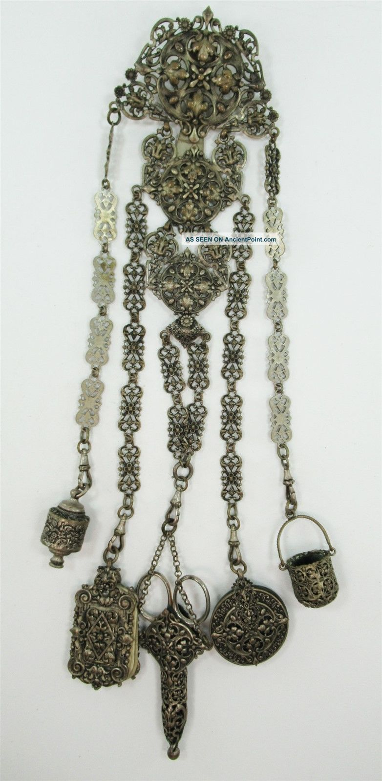 Victorian Chatelaine W/ Thimble Case Pin Cushion Scissors Notepad & Tape Measure Tools, Scissors & Measures photo