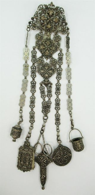 Victorian Chatelaine W/ Thimble Case Pin Cushion Scissors Notepad & Tape Measure photo