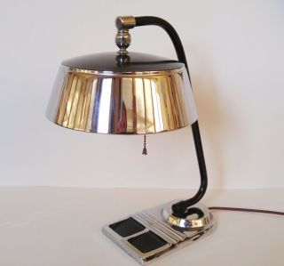 Art Deco Machine Age Chrome Desk Lamp Kurt Versen Gilbert Rohde Chase Markel Era photo