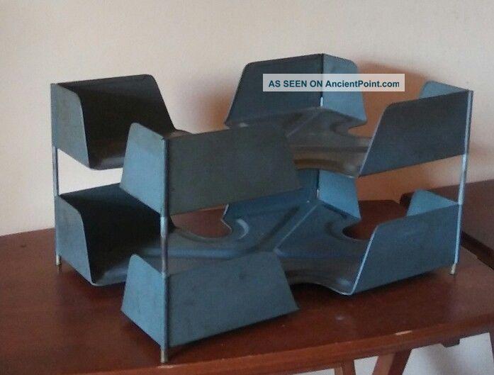Vntg Mid Century Mad Men Industrial Steampunk Tanker Desk Organizer In / Out Box Mid-Century Modernism photo
