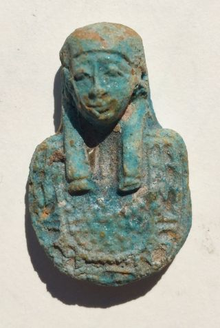 "Arcantiques ""ancient Egyptian Amulet"" Blue Faience Pharonic Head. photo"