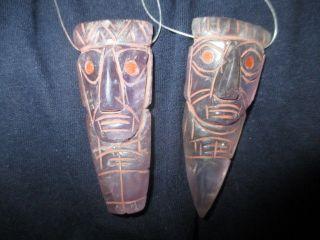 Chavin Pretty 2 Head Of Warrior Pendant Amethyst,  Necklace,  Precolumbian,  Moche photo