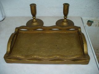 Old 1942 Wooden Serving Tray And Candle Sticks Holders Gold Paint Wedding Gift photo