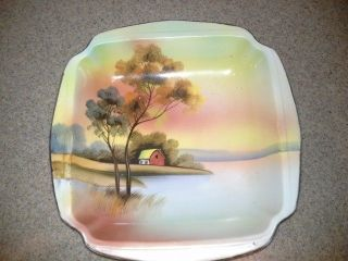 A Vintage Porcelain Serving Bowl Nippon Japan Hand Painted photo