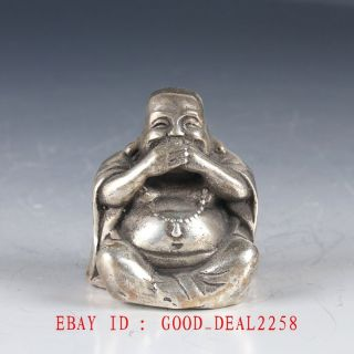 Old Chinese Silver Bronze Hand Made Carved Laughing Buddha Statue Fx28 photo