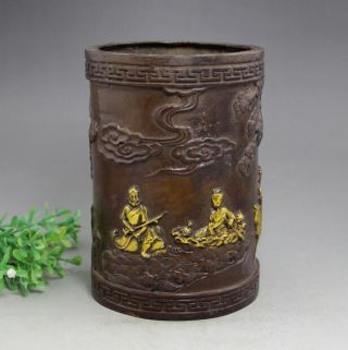 Collect Old China Copper Gild Eight Immortals Statue Brush Pot Pencil photo
