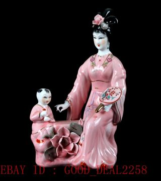 Chinese Porcelain Handwork Carved Beauty & Children Statue Cx022 photo