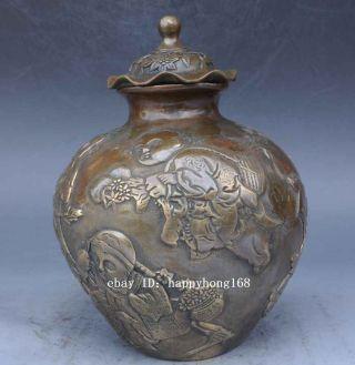 Chinese Tibet Old Brass Handwork Kid Pot Statues /qianlong Mark photo
