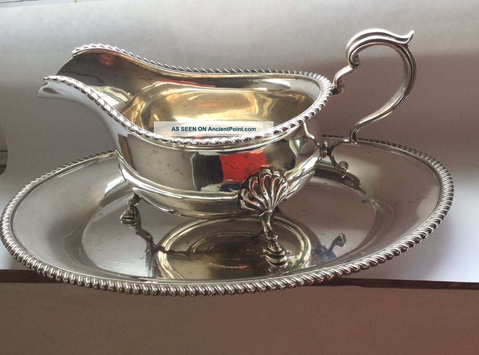 Vintage Solid Silver Gravy Boat And Salver,  Adie Bros 1960 Sauce Boats photo