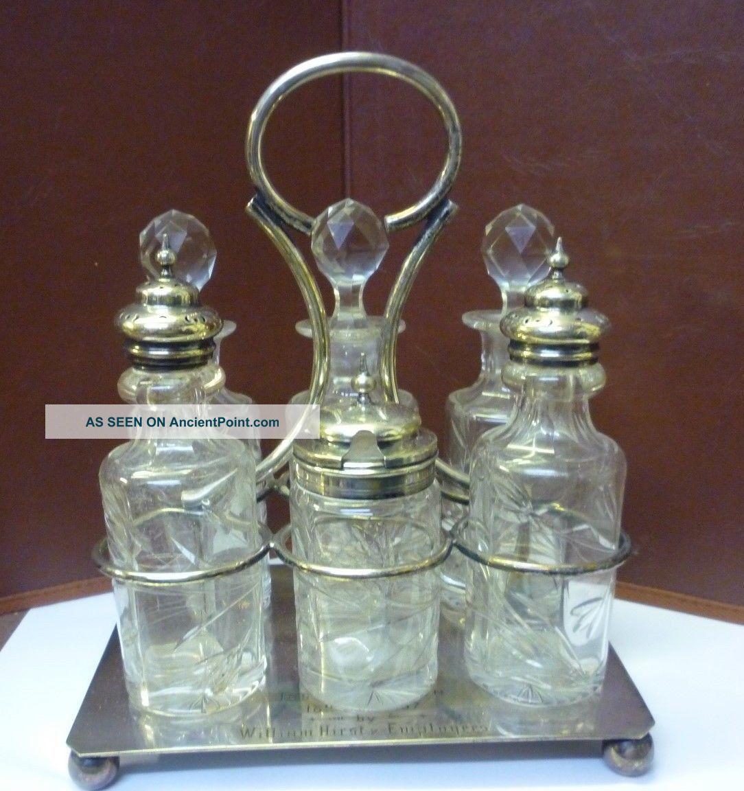 Victorian 6 Bottle Silverplated Cruet Dated 1897 Salt & Pepper Cellars/Shakers photo